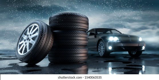 Car tires standing on a rainy road with black car in the background - heavy weather - 3D illustration