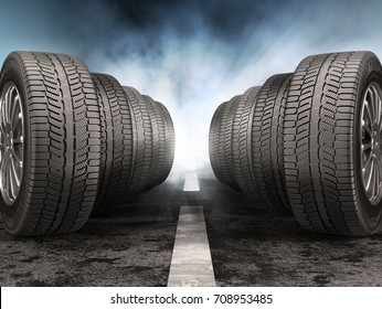 Car tires standing on the road against light of headlights. 3d illustration