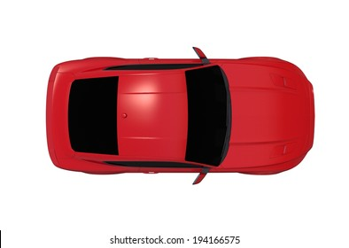Car From Top Isolated on White Background. Red Sports Car.