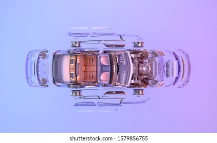 Car top view. 3D flat lay exploded view illustration of vehicle for automobile poster. Car assembly, automotive industry, auto repair service, spare parts business, technology ads design background