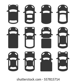 Car Top View Icons Set. illustration