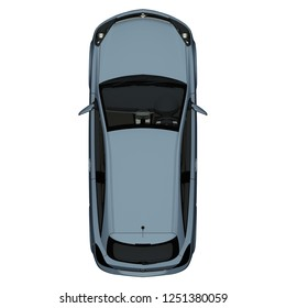 Car top view / vehicle overhead isolated on white background, perfect use for 2d floor plans and other design projects. High Quality renders