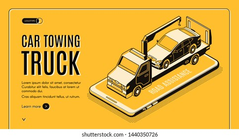 Car towing truck online service isometric web banner. Flatbed truck with crane carrying car on smartphone screen line art illustration. Road assistance company mobile application landing page