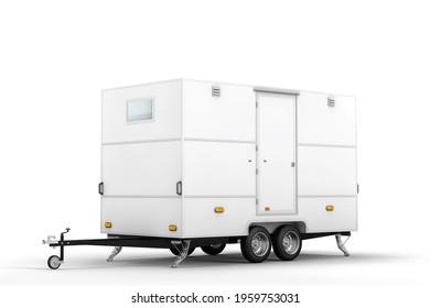 Car trailer mockup. 3D rendering.