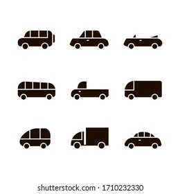 Car transport icon,sign,pictogram,symbol silhouette set isolated on a white background flat style