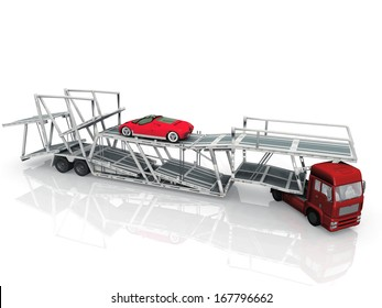 Car  transport truck on white background