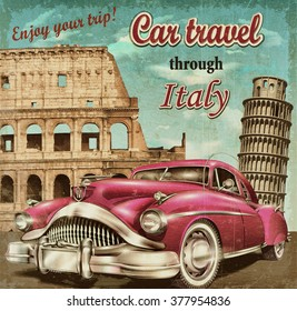 Car travel retro poster.