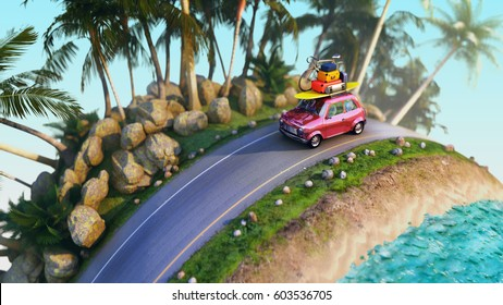 car for traveling with a roof rack on a mountain road. 3d illustration