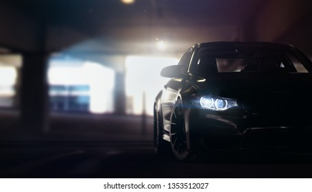 Car tuning, garage concept scene with headlight and spoke detail - contra light silhouette - front view (with grunge overlay) - 3d illustration