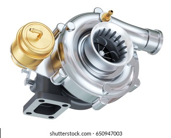 Car turbocharger. Auto parts. isolated on white background 3d