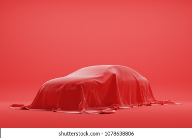 The car under red cloth in photo studio. 3d rendering