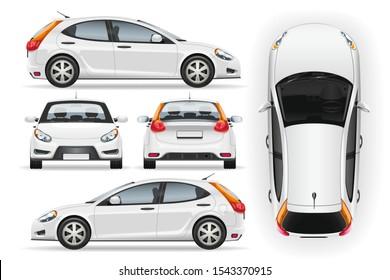 Autorvektor-Vorlage auf weißem Hintergrund. Business Luchback einzeln. Modell für die Fahrzeugmarkierung. Seite, vorne, hinten, Draufsicht.