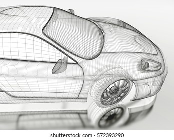 Car vehicle 3d blueprint mesh model on a white background. 3d rendered image