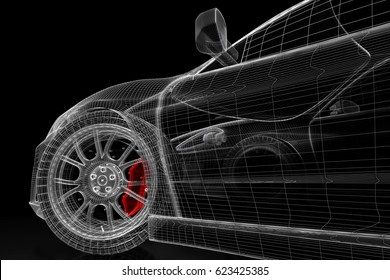 Car vehicle 3 d blueprint mesh model stock illustration 714942805 car vehicle 3d blueprint mesh model with a red brake caliper on a black background malvernweather Gallery