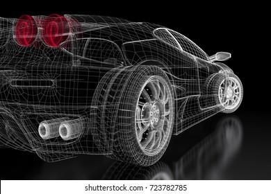 Car vehicle 3d blueprint mesh model on a black background. 3d rendered image
