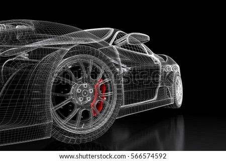 Car vehicle 3 d blueprint mesh model stock illustration 566574592 car vehicle 3d blueprint mesh model with a red brake caliper on a black background malvernweather Gallery