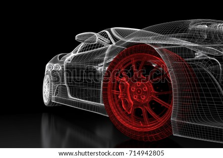 Car vehicle 3 d blueprint mesh model stock illustration 714942805 car vehicle 3d blueprint mesh model with a red wheel tire on a black background malvernweather Gallery