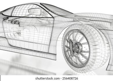 Car vehicle 3 d blueprint mesh model stock illustration 596670788 car vehicle 3d blueprint model on a white background 3d rendered image malvernweather Images