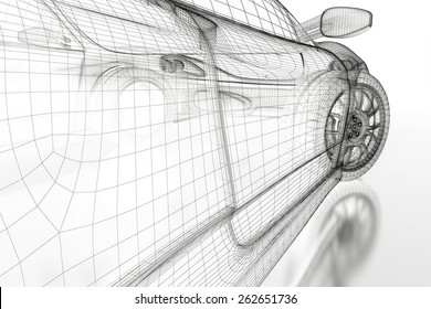 Car vehicle 3d blueprint model on a white background. 3d rendered image