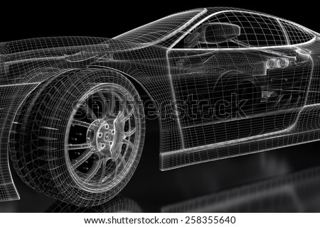 Car vehicle 3 d blueprint model on stock illustration 258355640 car vehicle 3d blueprint model on a black background 3d rendered image malvernweather Gallery