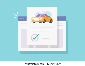 Car or vehicle insurance contract policy document online with approved checkmark or automobile loan finance warranty agreement verified flat cartoon illustration, auto rent purchase image
