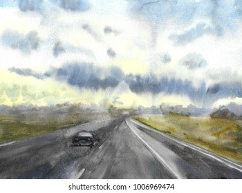 the car wanders on the way to the horizon at sunset, hand painted watercolor