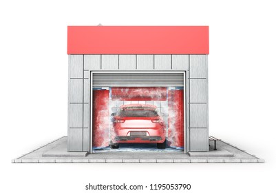 Car washing building isolated on a white. 3d illustration