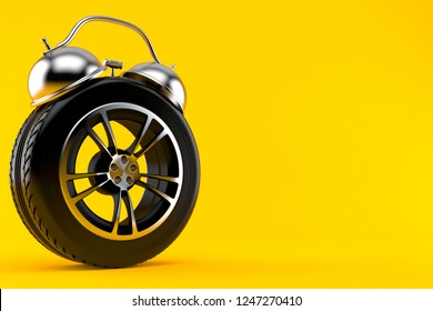 Car wheel alert concept isolated on orange background. 3d illustration