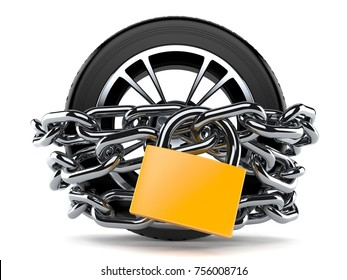 Car wheel with chain and padlock isolated on white background. 3d illustration