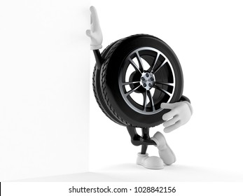 Car wheel character isolated on white background. 3d illustration