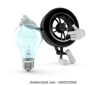 Car wheel character with light bulb isolated on white background. 3d illustration