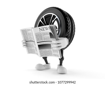 Car wheel character reading newspaper isolated on white background. 3d illustration