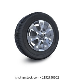 Car wheel disc and tyre isolated on white. Digital illustration. 3D illustration.