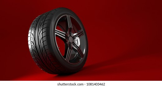 Car wheel isolated on a red background. Tyre. Poster design. 3d illustration