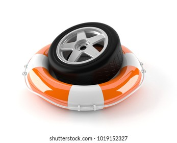 Car wheel with life buoy isolated on white background. 3d illustration