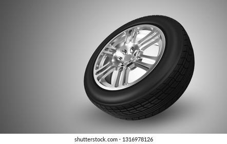 Car Wheel on gradient background. 3D rendering