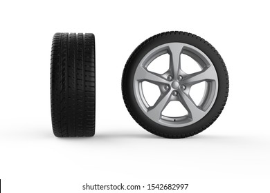 Car wheel photo realistic 3D Illustration of isolated model from the right and front sides on the white background.