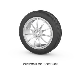 Car wheel tire on a white background. 3d illustration.