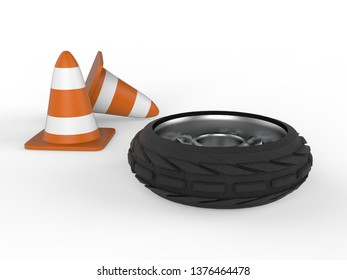 Car wheel with traffic cones 3D rendering