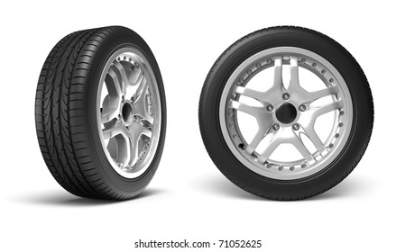 Car wheels on white background. Clipping path included.