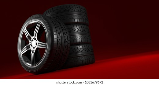 Car wheels set on red background. Poster design. 3d illustration