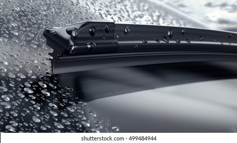 Car windshield with rain drops and frameless wiper blade closeup. 3d render