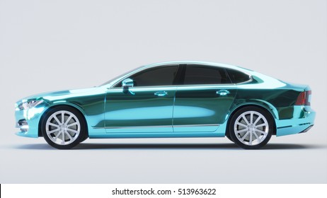 Car wrapped in blue chrome film. 3d rendering