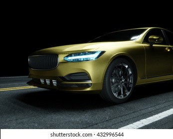Car wrapped in golden carbon film. 3d rendering