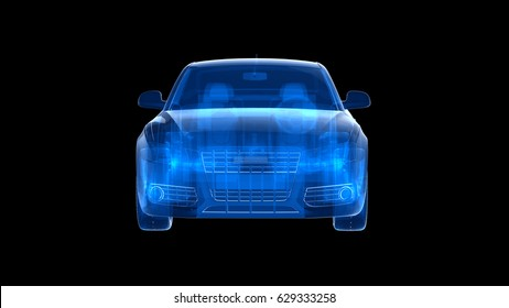 Car xray blue transparent with city background.3D render