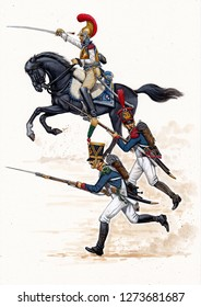 Carabineer , voltigeur and line infantry on the attack, 1812. French uniform. Napoleonic wars illustration.