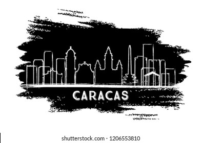 Caracas Venezuela City Skyline Silhouette. Hand Drawn Sketch. Business Travel and Tourism Concept with Modern Architecture. Caracas Cityscape with Landmarks.