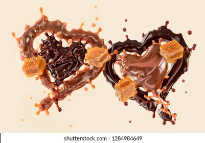 Caramel sauce and dark chocolate linked candy valentine hearts with toffee caramel candies, isolated. Clipping path included. Valentine day concept. 3D illustration