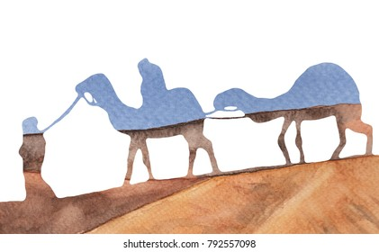 Caravan with camels in the desert. Double exposure effect. Hand drawn watercolor illustration.
