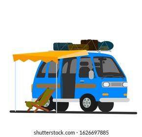 Caravan Travel Trailer. .   Illustration in cartoon style.